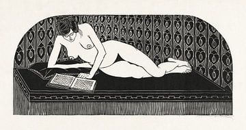 Liggend naakt, een boek lezend, Samuel Jessurun de Mesquita (1913) van Atelier Liesjes
