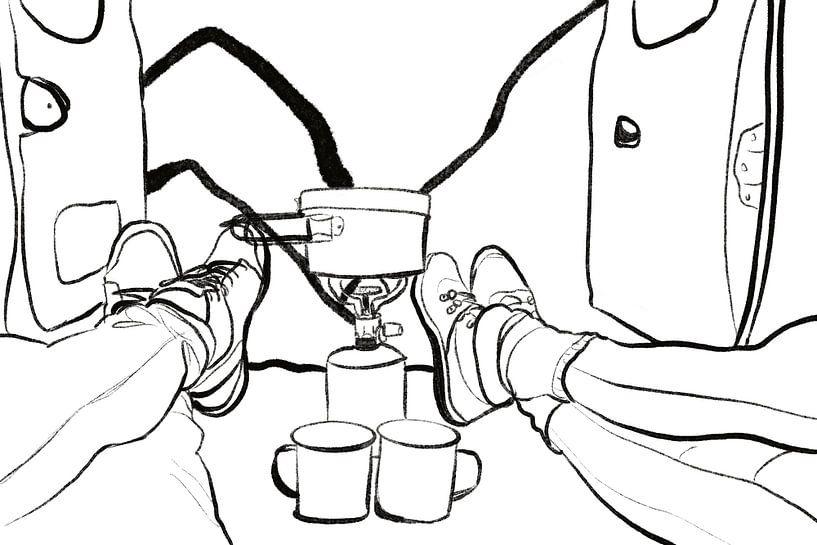 Koffie in de kamper van MishMash van Heukelom