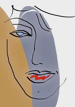 Gezicht Abstracte Lijnen van Marion Tenbergen