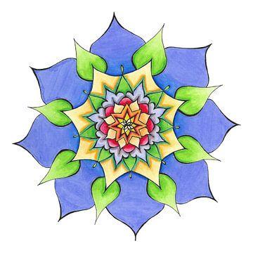 """Mandala """"Öffnung aus der Mitte"""" handgemalt von Sylvia Polis"""