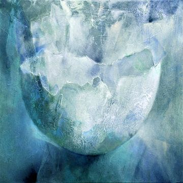 De eierschaal - structuren in turkoois en blauw van Annette Schmucker