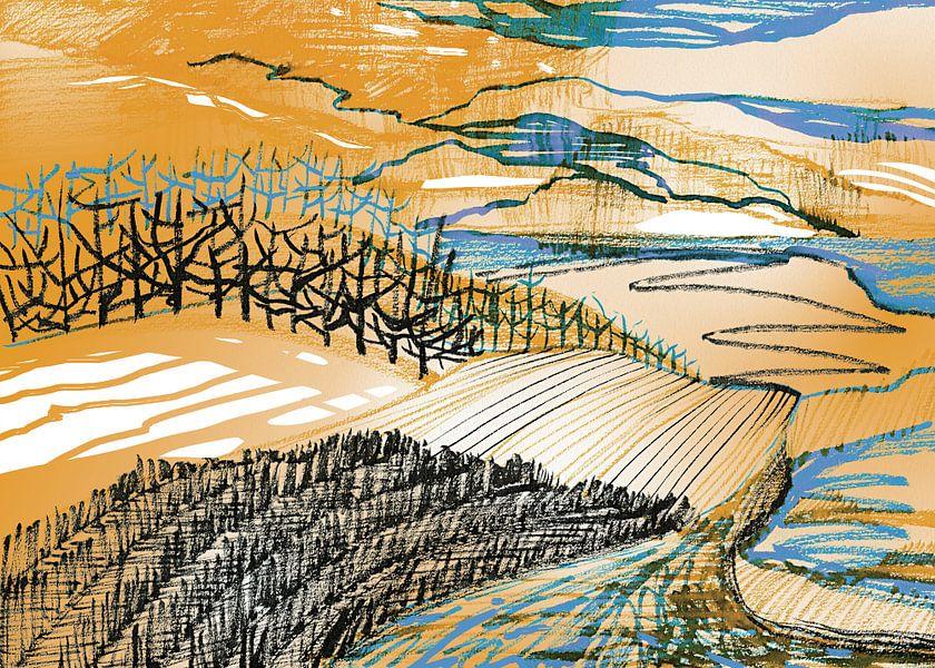 Landschap 'Ik kies mijn eigen pad' van Eva van den Hamsvoort