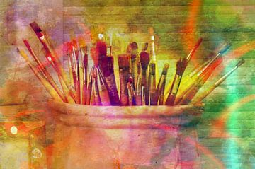 Penselen in een pot (Kunstschilder's gereedschap) van Leo Huijzer