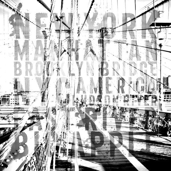 NYC Brooklyn Bridge Typografie II  van Melanie Viola