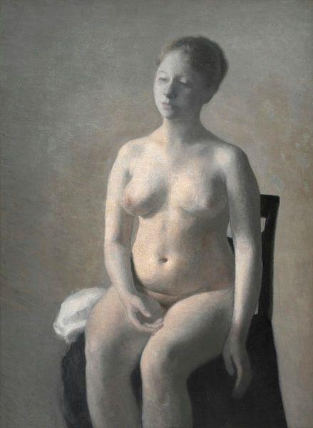 Sitzender weiblicher Akt, Vilhelm Hammershøi von Meesterlijcke Meesters
