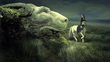 Centaur bij kop van een leeuw van Atelier Liesjes