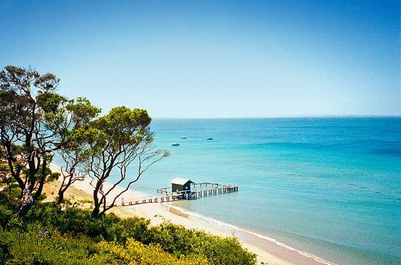 Zicht van boven op boothuisje. Mornington, Australië