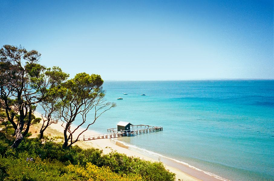 Zicht van boven op boothuisje. Mornington, Australië van Beeldig Beeld
