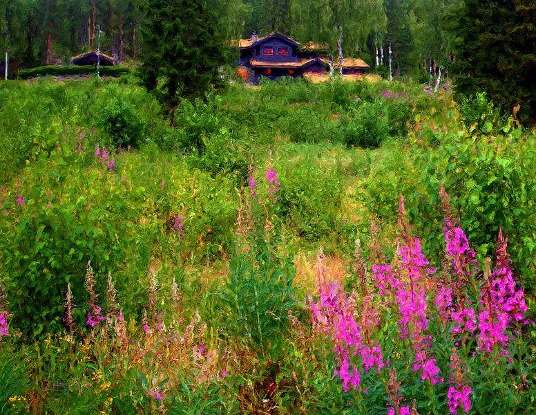 Landhuis in Noorwegen van Frans Jonker