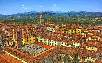 Lucca - Toscane - Italië - Olieverf Schilderij met Etsen van Dirk van der Ven