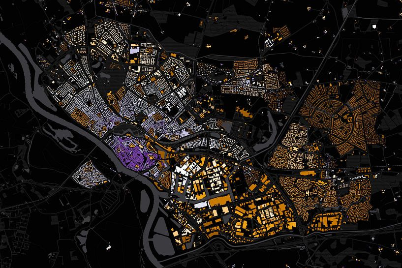Kaart van Deventer abstract van Stef Verdonk