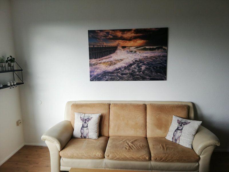 Klantfoto: Herfst storm aan de Nederlandse kust van Sander Poppe, op canvas