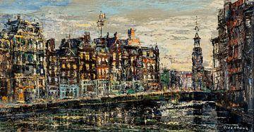 Arnold Oldenhave - Muntplein von der Amstel aus von Dolf van den Bos