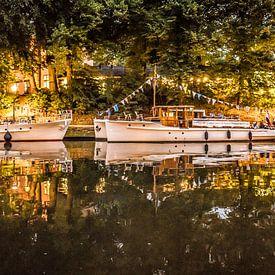 Bakdekkruisers in het licht van lantaarns in de Leeuwarder Prinsentuin van Harrie Muis