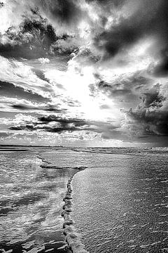 Schaum zeigt dem weg zum Zandvoort (schwarz und WeiB) von Ernst van Voorst