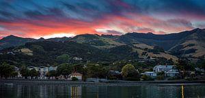 Zonsopkomst bij Akaroa Nieuw Zeeland