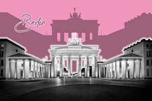 BERLIJN, de Brandenburger Tor | Grafische Kunst | roze