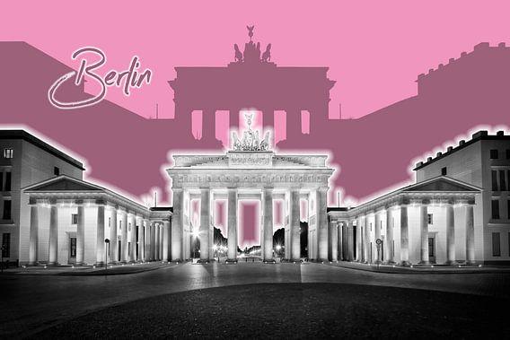 BERLIJN, de Brandenburger Tor   Grafische Kunst   roze van Melanie Viola