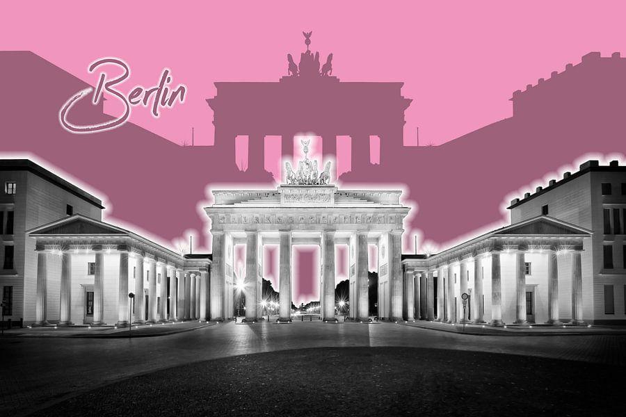 BERLIJN, de Brandenburger Tor | Grafische Kunst | roze van Melanie Viola