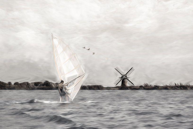 windsurfen-2 van Dick Jeukens