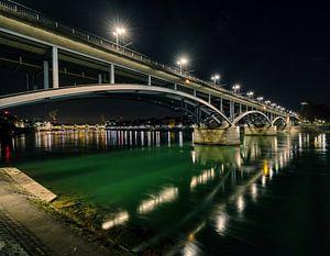 Rijn-rivier en wetstein-brug in Bazel Zwitserland van
