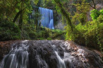 Dubbele waterval in het Parque Natural del Monasterio de Piedra van Iris Heuer