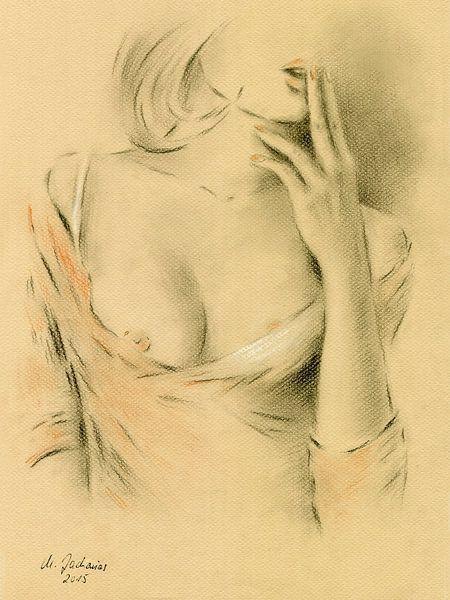 Sinnliche Lippen - Frau in Dessous von Marita Zacharias