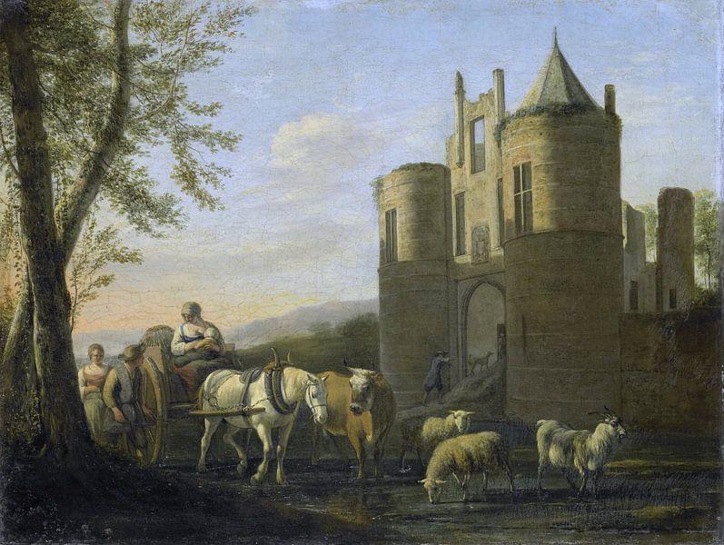Das Tor zur Burg Egmond, Gerrit Adriaensz. Berckheyde, 1670 - 1698. von Marieke de Koning