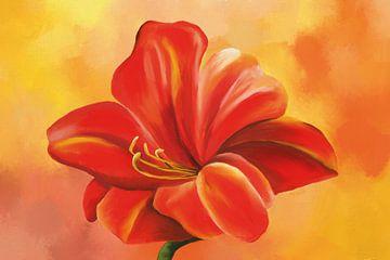 Acrylbild einer Azaleenblüte