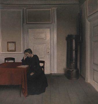 Wohnzimmer in der Strandgade mit der Frau des Künstlers, Vilhelm Hammershøi