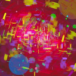 Nacht in de dynamische stad met regen in abstracte digitale stijl van Pat Bloom - Moderne 3D, abstracte kubistische en futurisme kunst