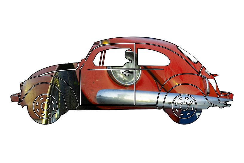 Rode Volkswagen Kever uitsnede van Jan-Loek Siskens
