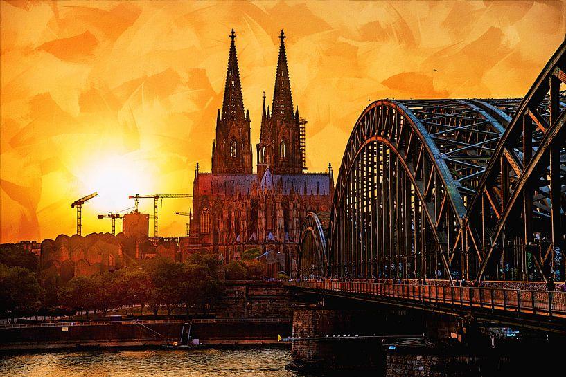 Köln Panorama Kölner Dom Artstyle von Michael Bartsch