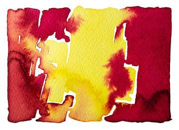 Neon Rood en Geel | Aquarel schilderij van WatercolorWall