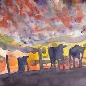 Koeien in de avondzon van Catharina Mastenbroek