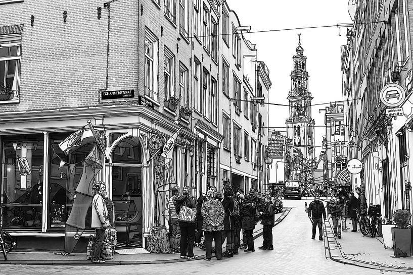 Pentekening Jordaan Westerkerk Amsterdam Tekening Lijntekening van Hendrik-Jan Kornelis
