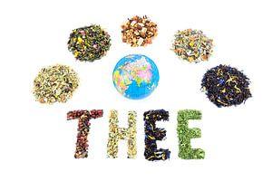 Woord THEE met wereldbol en verschillende soorten theee