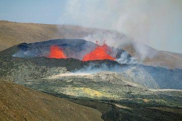 De actieve vulkaan bij Fagradalsfjall van Reinhard  Pantke