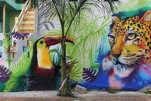 Muurschildering Mexico van Martin van den Berg Mandy Steehouwer