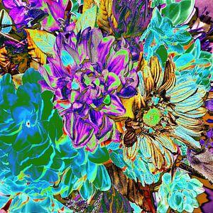 Abstract Neon Purple & Aqua Flora