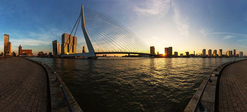 Rotterdam à l'horizon avec le pont Erasmus sur Frank Herrmann