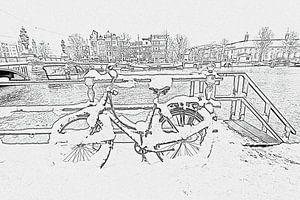 Pentekening van besneeuwde fiets aan de Amstel in Amsterdam