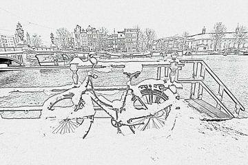 Pentekening van besneeuwde fiets aan de Amstel in Amsterdam von Nisangha Masselink