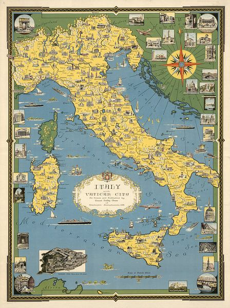 Italie, avec Cité du Vatican sur World Maps