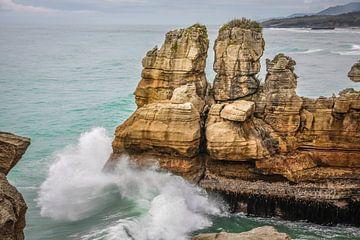 Pancake Rocks bij Punakaiki, Nieuw Zeeland van Christian Müringer