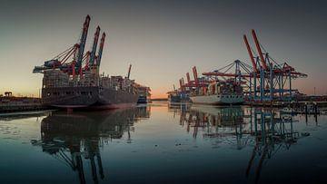 Terminal à conteneurs dans le port de Hambourg en soirée sur Jonas Weinitschke