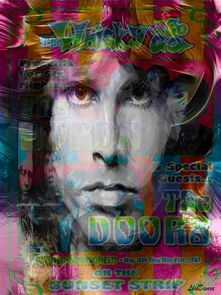Jim Morrison Pop Art Canvas van Leah Devora