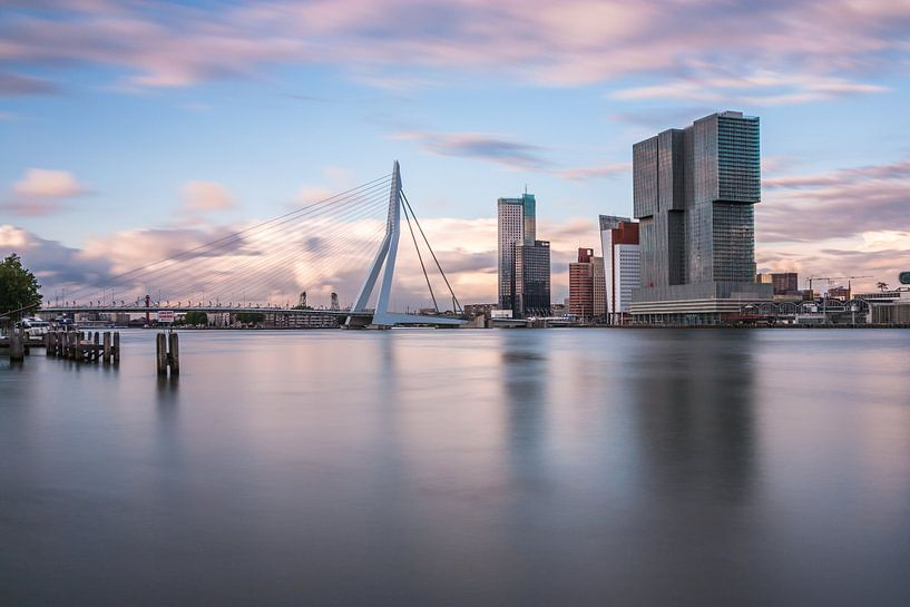 Rotterdam skyline met Erasmusbrug van Ilya Korzelius