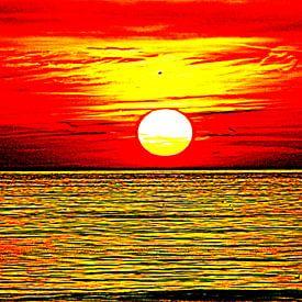 Rood gele zonsondergang van Geert Heldens