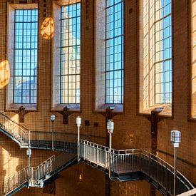 Trappenhuis van de oude Elbtunnel in Hamburg van Jenco van Zalk